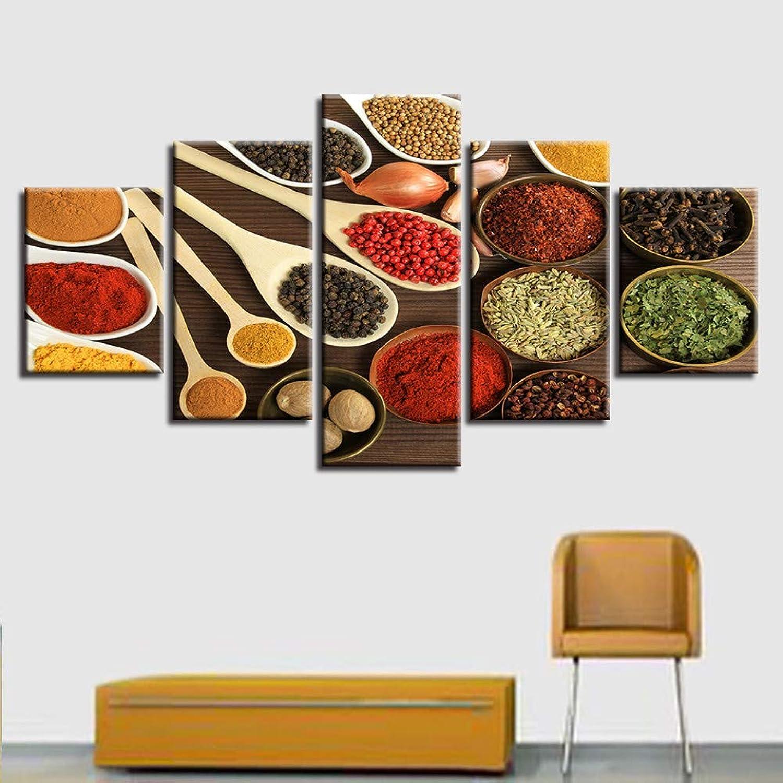 ventas en linea WZYWLH Pintura Imagen Modular Moderna Cuadros Decoración 5 Panel Cocina Cocina Cocina Ingrojoientes Lienzo Arte Marco de Parojo para la Sala de Estar,30x40 30x60 30x80cm  al precio mas bajo