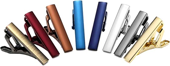 Zysta 8PCS Set Multiple Colors Fashion Mens Luxury Mini Tie Clips Polished Elegant Skinny Necktie Bar Pinch Tack Formal Dress Stainless Steel Durable