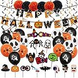 62 piezas de globos de fiesta de Halloween, juego de decoración banderines feliz Halloween fantasma calabaza látex para accesorios de fotos suministros de decoración para fiestas de Halloween