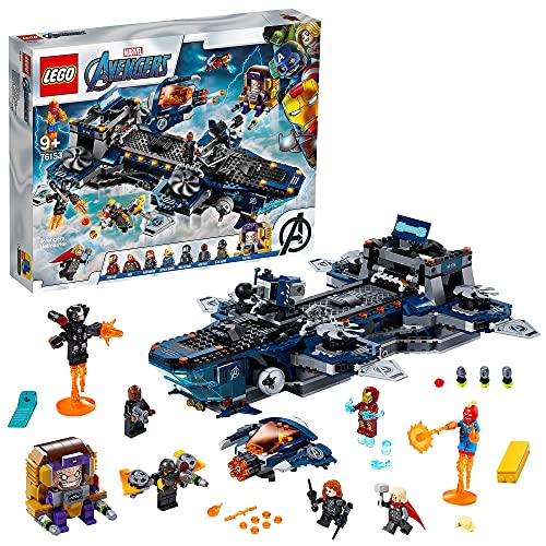 LEGO 76153 Super Heroes L'héliporteur des Avengers, Jouet avec Mini-Figurines Iron Man, Thor et Captain Marvel, pour Enfant 9 Ans +