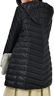 Women's Casual Hooded Zipper Slim Fit Warm Long Sleeve Mid Length Down Overcoats Coat Outwear Tops
