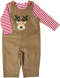 Good Lad Newborn/Infant Black Corduroy Train Appliqued Overall Set with Red and White Knit Bodysuit