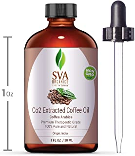 SVA Organics Coffee Oil CO2 Extracted 30ML (1 OZ) 100% Pure & Natural, Hexane Free, Authentic & Premium Therapeutic Grade Oil for Aromatherapy, Hair growth, Skin tightening and more