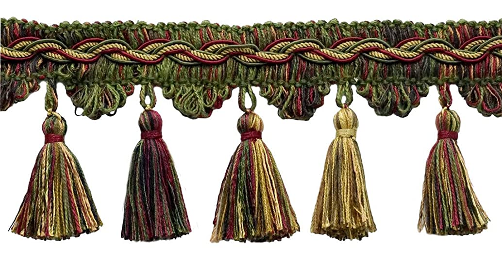 DecoPro 5 Yard Value Pack of Veranda Collection 3.5 Inch Tassel Fringe Trim - Cherry Red, Olive Green, Yellow Gold, Black, Style# VTF035, Color: Evergreen Berries - VNT19 (4.5M / 15 Ft)