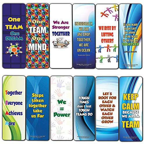 Creanoso Inspiring Teamwork Bookmarks for Kids (60-Pack) – Premium Gift Set – Awesome Bookmarks for Boys, Girls, Children – Six Bulk Assorted Bookmarks Designs – School Classroom Reading Incentives