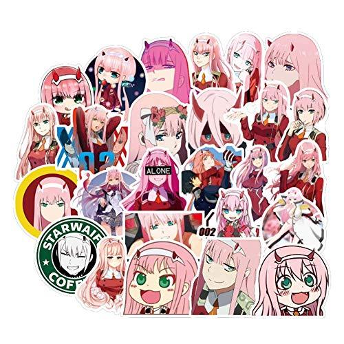 Zhenzhiao Anime Darling in die Franxx PVC Wasserfest Aufkleber Vinyl Sticker Aufkleber No-Duplicate für Auto,Gepäck,Computer,Kühlschrank Heim Dekor - 50PCS
