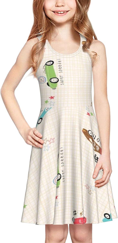 YhrYUGFgf Racing Car Dress Girl's Sleeveless Dress Casual Skirt Tank Dress