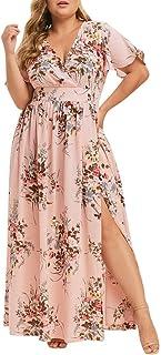 DIANEND Plus Size Dresses for Women, Boho Vintage V Neck Short Sleeve Floral Print Party Cocktail Maxi Dress
