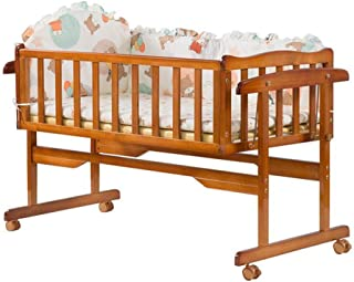 XY Crib Pine Wood Solid Wood Cot/Antique Pine Cot/Brown Colour Cot/Baby Cot/Cradle Bed/Gift Mosquito Net (Color : Brown)