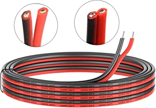 12 Gauge Electrical wire 2 Conductor parallel silicone wire 50ft [Black 25ft Red 25ft] 12 awg 600V flexible Extension cable cord Stranded Tinned copper wire Hookup Model batter cable lead wire