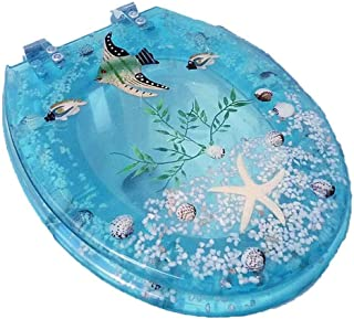 Djyyh Ocean Series Art Slow Close Resin Toilet Seat With Cover、3D Effects、Starfish、Real Seashells And Sands For U/V/O Type Toilet (Size : 40-47*34CM)