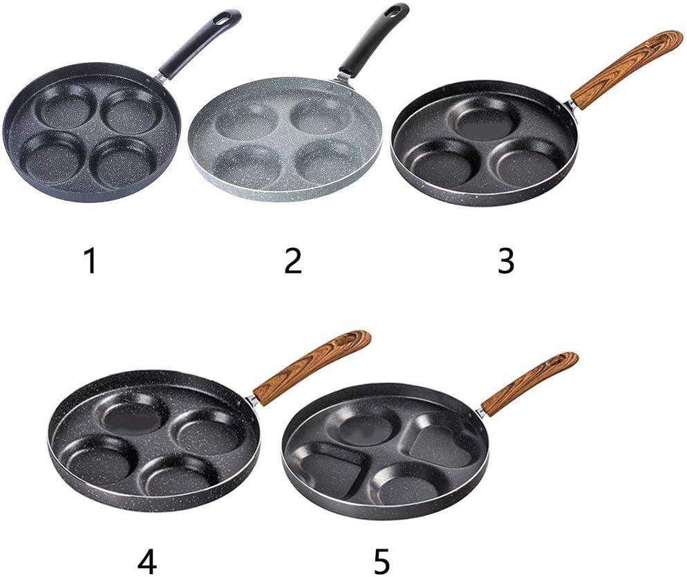 Egg Frying Pan, non bâton Pancake Omelette Plateau, 3/4 unités Petit déjeuner Sandwich en alliage d'aluminium Pan, 22/24 / 28cm Dia xuwuhz (Color : 24cm Black) 24cm 4 Holes