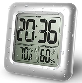 BALDR Digital Bathroom Shower Clock, Waterproof for Water Spray, Large Display, Temperature, Humidity and Moisture, Thermometer & Hygrometer, Suction Cups, Wall Clock - Silver