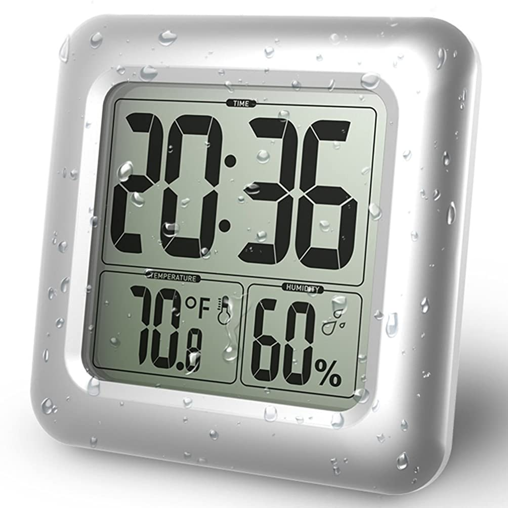 王族報酬気取らないBALDR デジタルバスルーム防水目覚まし時計 モダンなデザイン シャワークロック LCD時間表示 温度表示 ゲージ 屋内 湿度 防水 壁時計 洗面所 浴室 リビング用