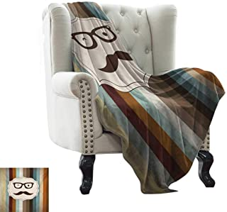 Leisure Blanket Modern,Funny Man Face with Moustache and Glasses Winking on Striped Background Sir Artwork,Multicolor Cozy Hypoallergenic, Easy to Carry Blanket 30
