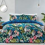 Sleepdown Juego de Funda de edredón con Fundas de Almohada (230 x 220 cm), diseño de Hojas Tropicales de la Selva, Color Azul Marino, Verde y Azul Marino