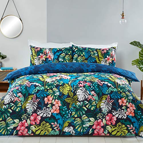 Sleepdown Tropical Jungle Leaf Floral Navy Green Blue Reversible Soft Easy Care Duvet Cover Quilt Bedding Set with Pillowcases - Double (200cm x 200cm)