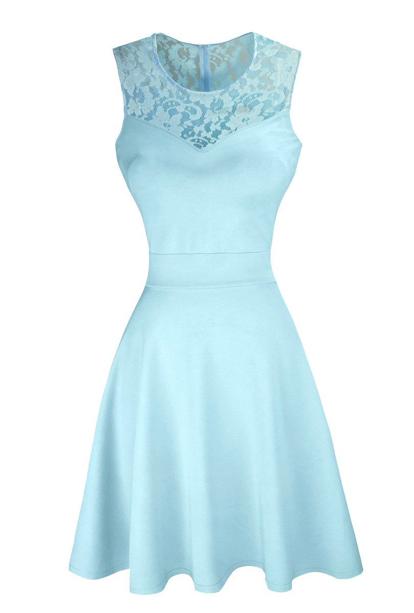 Available at Amazon: Sylvestidoso Women's A-Line Pleated Sleeveless Little Cocktail Party Dress with Floral Lace