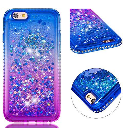 FroFine - Carcasa de Silicona para iPhone 5S, diseño 3D líquido, Carcasa para teléfono móvil, diseño de corazón con Purpurina, Color Transparente, Compatible con iPhone 6