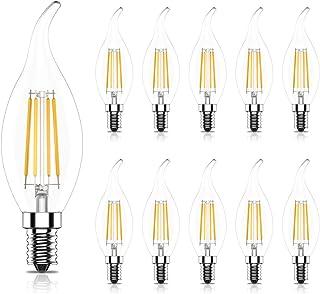 Tuoplyh 10 Unidades C35 Bombillas Vela de Filamento LED E14 Casquillo Fino 4W Equivalente a 40W, 400 lúmenes, Blanco Cálido 2700K,CRI>80,No Regulable