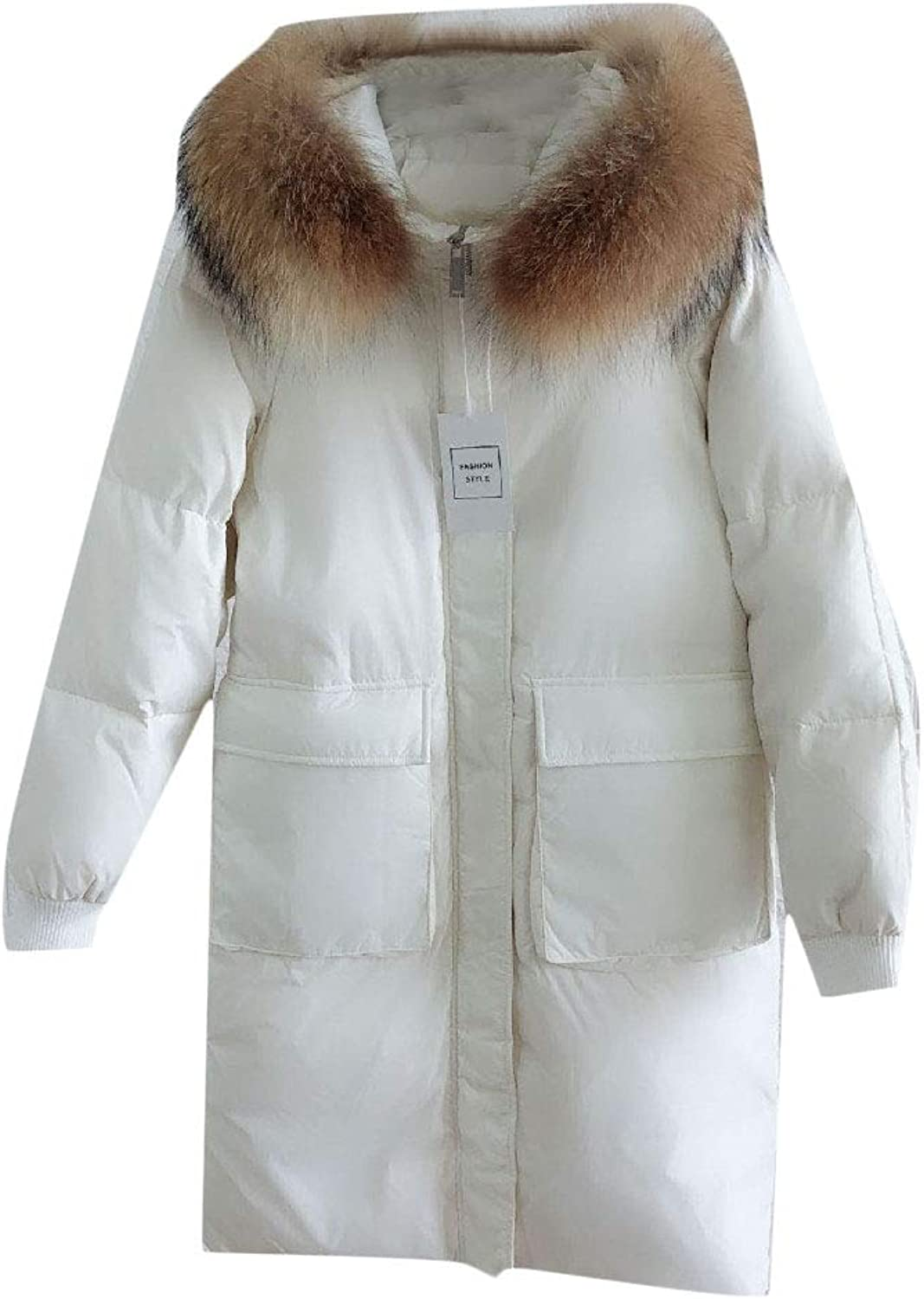Cobama Women Plus Size Fur Faux Hooded Mid Long Solid Jacket Coat Puffer