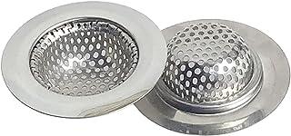 """CNSZNAT 2pcsバスルーム排水ストレーナー、直径2.2""""の小さなワイドリム、頑丈なステンレス鋼のヘアキャッチャー排水フィルター浴槽の洗面台の排水穴に最適"""