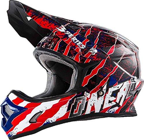 O'Neal 3Series MX Helm Mercury Blau Rot Weiß Motocross Enduro Quad Offroad Cross, 0623-46, Größe XL (61/62 cm)