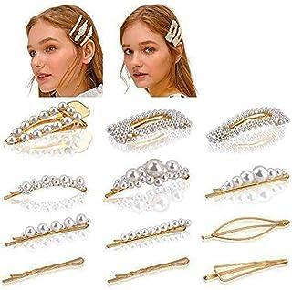 SAPU 12Pcs Pearl Hair Clips (White),Artificial Pearl Hair Pins, Hair Barrettes Decorative,Handmade Pearl Wedding Hairpins ...