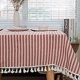 meioro Manteles Rectangular Mantel Antimanchas Mantel para Mesa de Lino Striped Tassel Tablecloth La decoración del hogar es Adecuada para Interiores y Exteriores (Rayas Rojas / Blancas, 120×160cm)