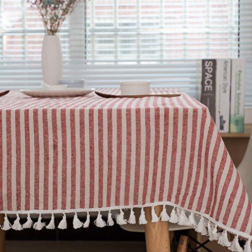 meioro Manteles Rectangular Mantel Antimanchas Mantel para Mesa de Lino Striped Tassel Tablecloth La decoración del hogar es Adecuada para Interiores y Exteriores (Rayas Rojas / Blancas, 100×140cm)