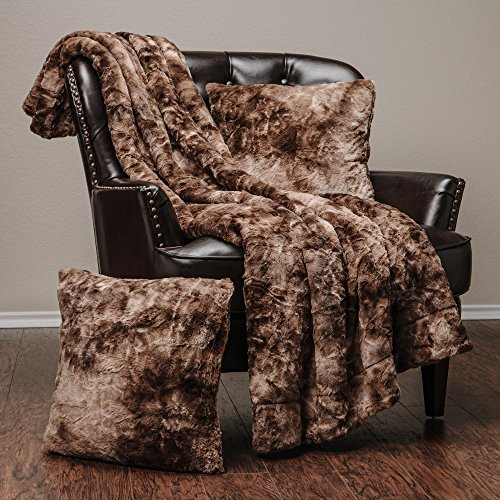 Chanasya Faux Fur Throw Blanket Pillow Cover 3-Piece Set - Sherpa Throw (50x65 Inches) 2 Throw Pillow Covers (18x18 Inches) for Couch, Bed, Chair and Sofa - Chocolate