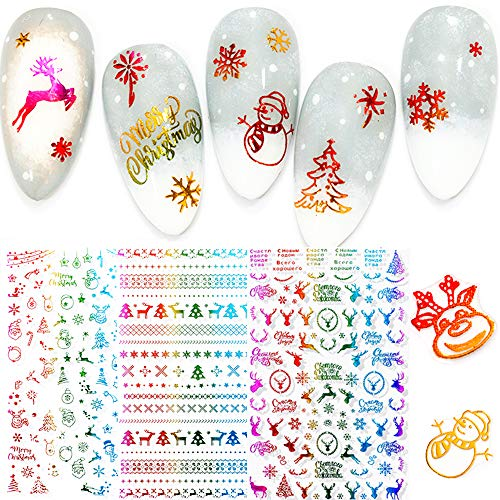 3 Sheets Christmas Nail Art Stickers Decals Decoration Supplies 3D Christmas Stickers Design Winter New Year Santa Snowflake Deer Xmas Snowman Nail Design Sticker for Holiday Party Accessories