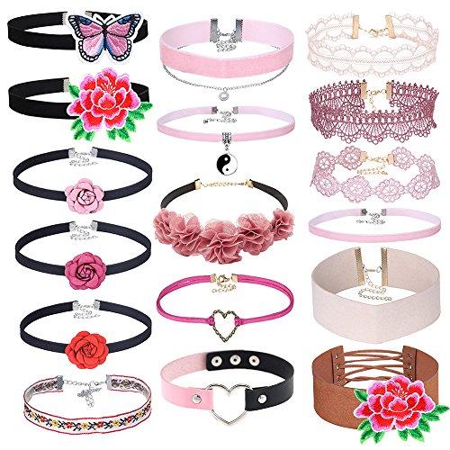 Mingjun 17pcs Set de flores de encaje mariposa gargantilla de terciopelo rosa piel elegante moda collar para mujeres niñas adolescentes joyería regalos Set