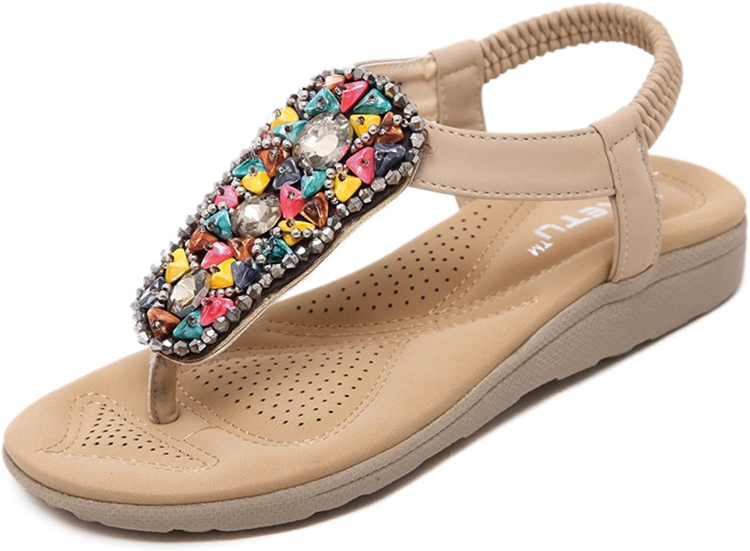 ISHOP-Tech Women's Flat Sandals Summer Casual Open Toes Pearls Sandals Brown