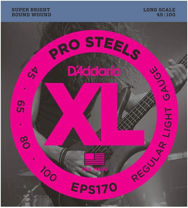 d'Addario EPS170 - Juego de cuerdas para bajo eléctrico de acero, .045 - .100, transparente