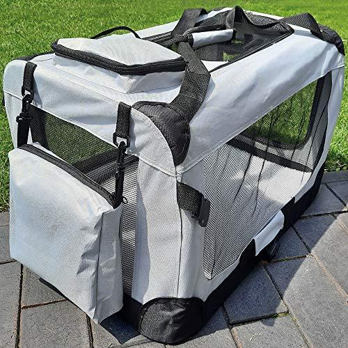 zooprinz Faltbare Hundetransportbox mit sicherem Stahlrohrrahmen - inklusive Kuschelunterlage für deinen Hund - in 5 Größen und 2 Farben (M, Grau)