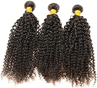 Fashian Real Hair Curtain Ladies Long Curly Hair Real Hair Hair Can Be Dyed Wig DIY Fun (Color : Black, Size : 20inch)