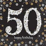 Amscan 511546 Tovaglioli da tavola 33 cm, Celebrazione nozze d'oro 50 anni