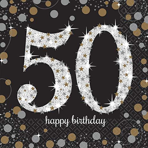 amscan 511546 16 Servietten 50.Geburtstag Sparkling Celebration, Schwarz/Silber