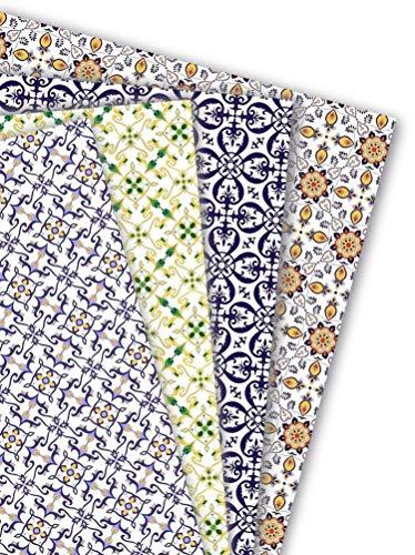 ArtUp.de 8 Bögen Geschenkapier Azulejos Portugal - 4 Motive mit je zwei Bögen Einschlagpapier für außergewöhnlich schöne Geschenke - edel fein exklusiv - Bogengröße DIN A2 (ca. 42 x 59 cm)
