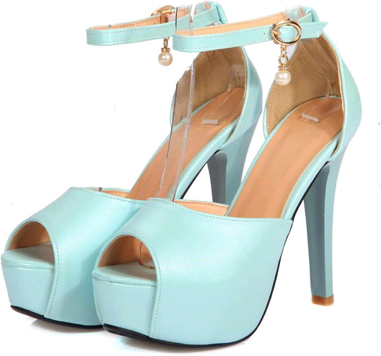 Mamamoo Women Buckle Strap high Thin Heel Platform Sandals Elegant Pearl Cover Heel Peep Toe Pump