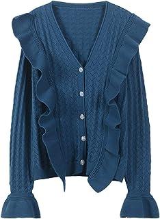 [もうほうきょう]カーディガン レディース Vネックシャツ フレア袖 フリル付け 春秋の新番コート 無地カーディガン