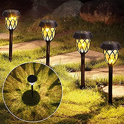 6 Pack Solar Powered LED Pathway Lights, Super Bright Wireless Outdoor Lights, Waterproof Landscape Path Lights for Lawn, Walkway, Patio, Driveway, Yard and Garden, Warm White
