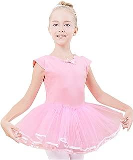 Miyarooma Girls' Dance Cross Tutu Short Sleeve Dress Bow-Knot Pretty Kids Ballet Leotard