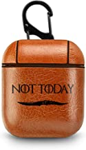 Leather Case for AirPods Box Not Today Rock Light Brown PU Leather Protective Shockproof Cover Wireless Charging for Apple AirPods 1 2 Series GoT Design