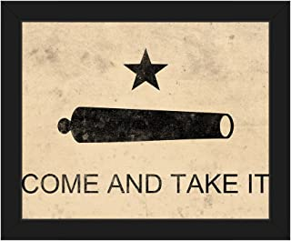 Picture Wall Art Come and Take It Flag - Paper Distressed American Revolutionary War Texas Revolution Flag Wall Art Print on Canvas with Black Frame