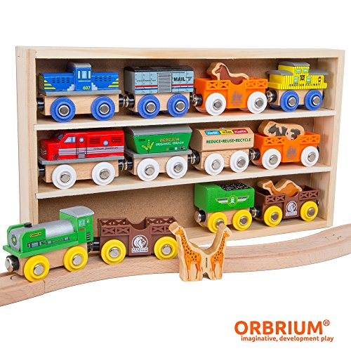 Image of Orbrium Toys 12 (18 Pcs) Wooden Engines & Train Cars Collection with Animals, Farm Safari Zoo Wooden Animal Train Cars, Circus Wooden Train Compatible with Thomas, Brio, Chuggington
