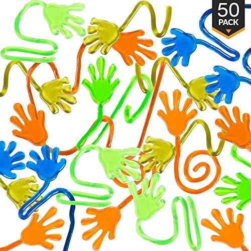 AINOLWAY 50 x Vinyl klebrige Hände Party gefallen Spielzeug Goodies Sticky Hands