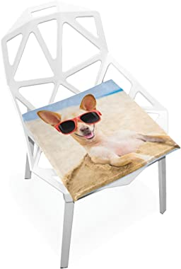 DOENR Glasses Dog Seat Cushion Chair Cushions Covers Set Decorative Indoor Outdoor Velvet Double Printing Design Soft Seat Cushion 16 x 16