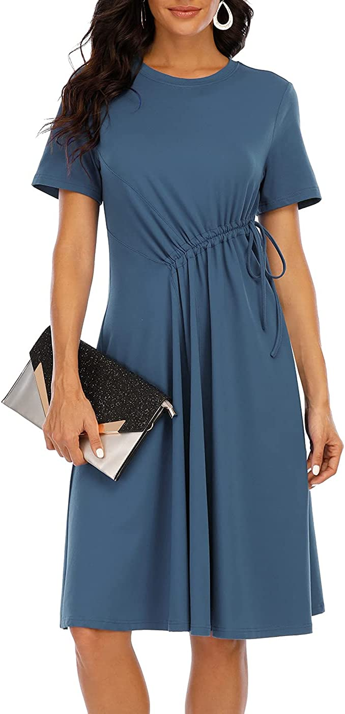 CHARMYI Tshirt Dresses for Women Casual Summer Elegant Short Sleeve Tunic Dress T Shirt Dress Front Drawstring